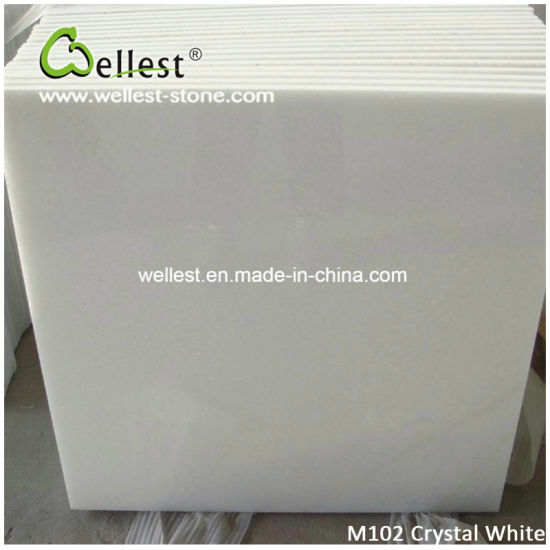 Polished China Pure White Crystal Marble Flooring Tiles