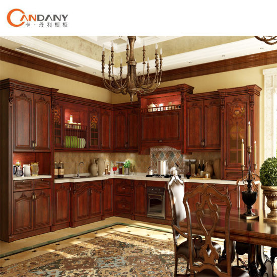 Solid Wood Oak Cherry Walnut Maple Kitchen Cabinet pictures & photos