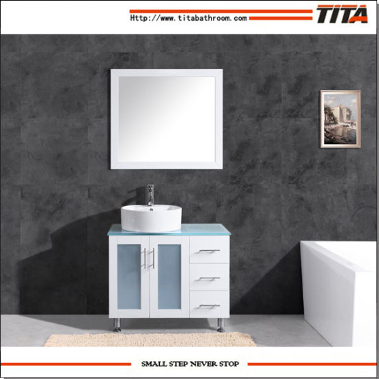 White Lacquer Glass Vanity Top Bathroom Vanity T9140-48W pictures & photos