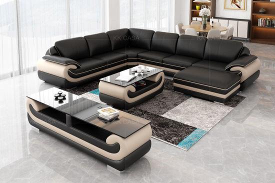 Magnificent Kk Casa Hot Fashion New Design Black Leather Sofa Sectional Interior Design Ideas Inamawefileorg