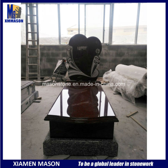 India Red Granite Heart Shape European Headstone