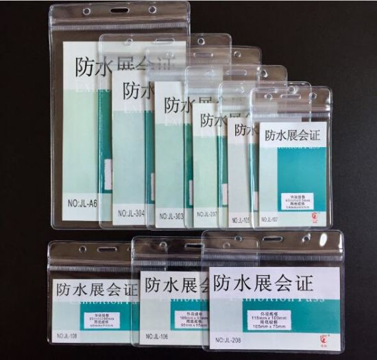 Hot Selling Waterproof Exhibition Card ID Card Holder and Name Badge Holder PVC Plastic Pocket