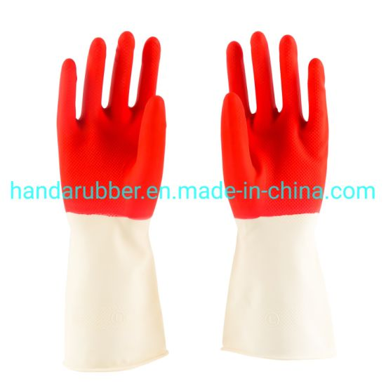 85g White-Red Household Gloves Cleaning The Garden and Kitchen Latex Gloves