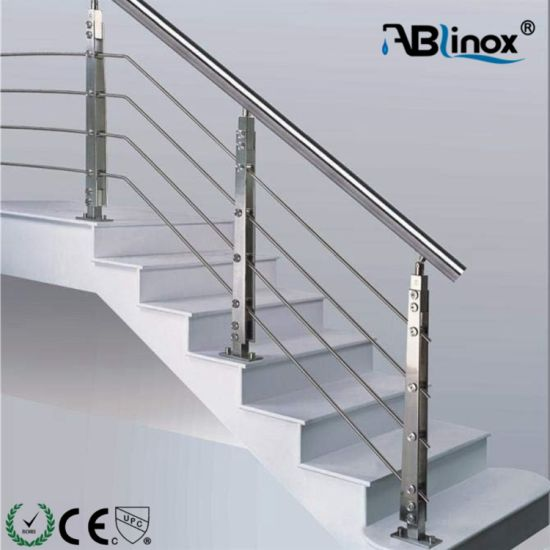 Balcony Stainless Steel Building Material Glass and Pipe Railing System Staircase