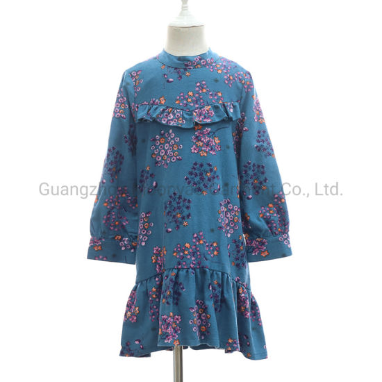 Flower Floral Printed Casual Kids Wear Clothes for Winter Girl Dresses 2019