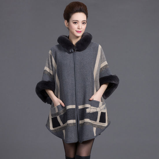 Cashmere Knitted Cardigan with Cap and Round Collar Cloak
