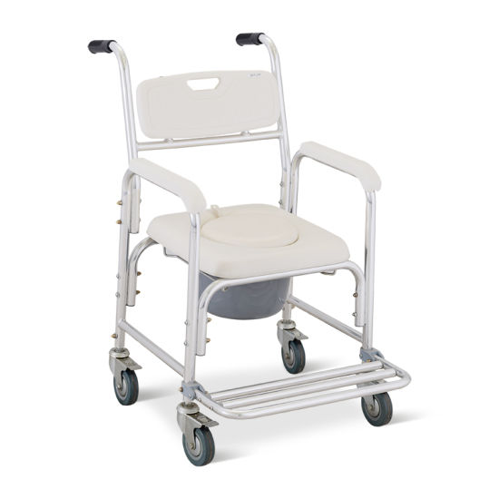 Ske031 Hospital Stainless Steel Height Adjustable Commode Chair pictures & photos
