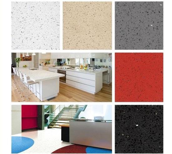 Prefab White/Black/Grey/Red Artificial Quartz Stone Kitchen Countertop for Hotel Project