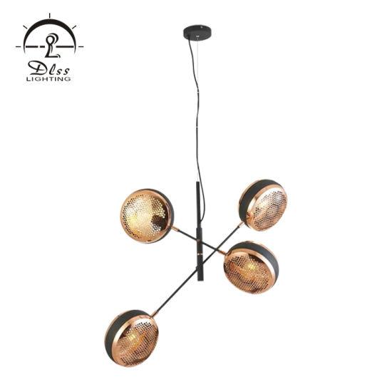 Hot Sale Indoor Decorative 4 Heads Chandelier Black Iron Hanging Pendant Lamp for Lighting