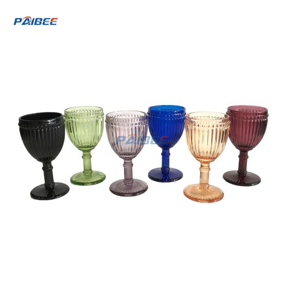 Paibee Pearl Embossed Wine Glasses Colored Glasses for Event Party Wedding pictures & photos