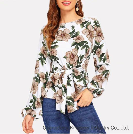 2019 Autumn Ladies Tops Flower Print Shirt Women Long Sleeve Blouse Clothes Round Neck Bandage T Shirt