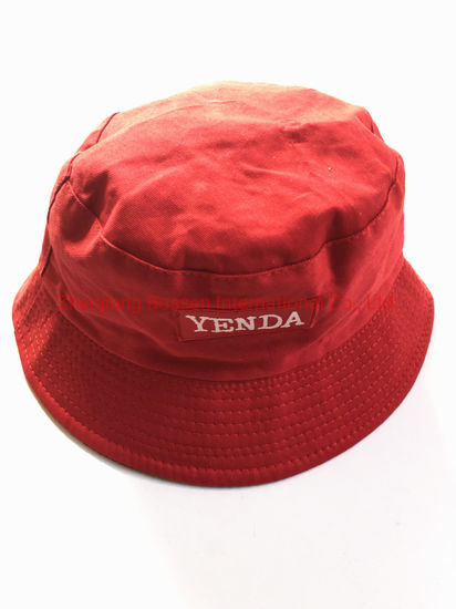 4890ee7b613829 OEM Customized Logo Both Sides Embroidered Cotton Black Red Sports Bucket  Hats pictures & photos