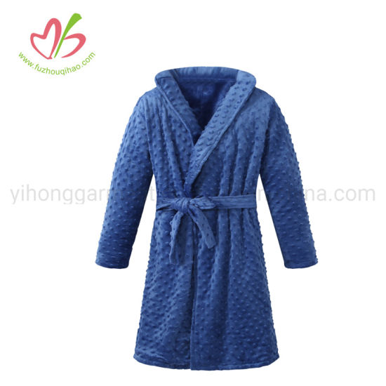 100% Polyester Minky Bathrobe in Stock Navy/White/Pink pictures & photos