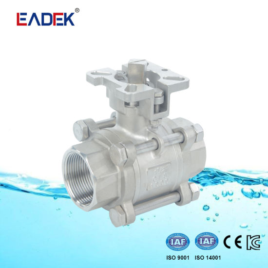 Ss Stainless Steel 3 Piece Ball Valve with ISO5211 Mounting Pad pictures & photos