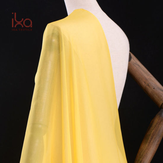 Good Transparent Thin Light Weight Woven Pure Silk Dubai Chiffon Scarf Yellow Silk Fabric for Printing