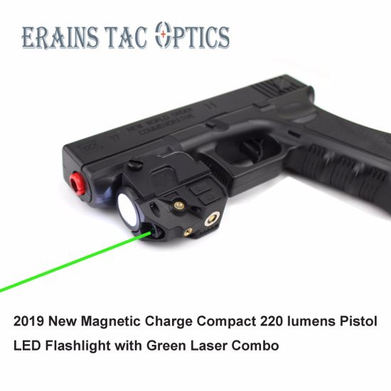 Hot Selling Magnetic Charge Subzero Tactical Compact Rechargeable 520nm Weapon Glock Pistol Gun Green Laser with 220 Lumens LED Flashlight
