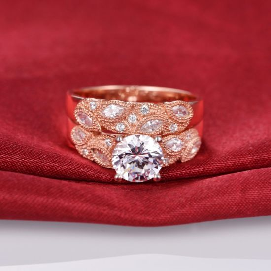 Rose Gold Leaf Design Bridal Ring Set -37 pictures & photos