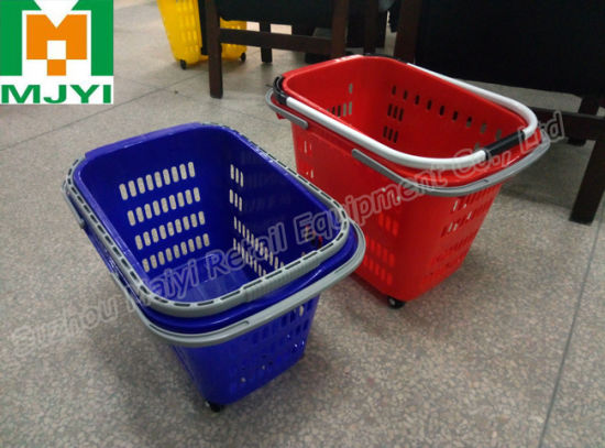 Supermarket Retail Convenient 3 Handle Plastic Shopping Basket pictures & photos
