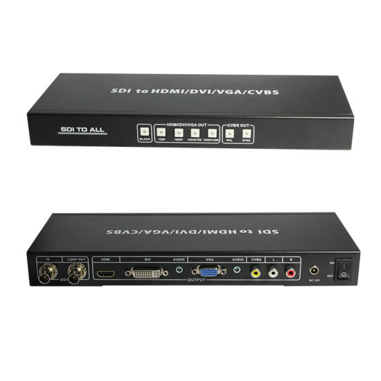HDMI//DVI//VGA//AV ALL To SDI 2 Port 3G SDI Splitter Scaler Converter Extended 100m