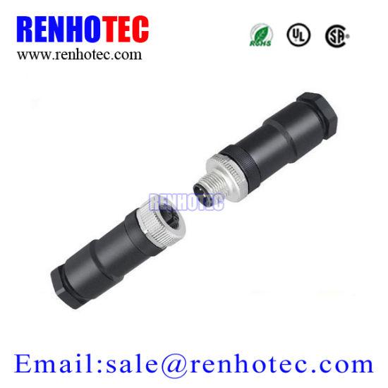 Plastic screw Terminal Type Waterproof M12 4pin Male Female Circular Connector
