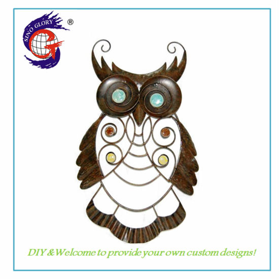 Vivid Colorful Metal Wild Owl Wall Art Decor Hanging Ornaments for Patio Pool Porch Outdoor Indoor Decorations