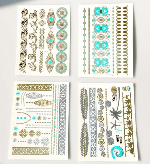 Factory Price Metallic Foil Gold Temporary Tattoo Sticker pictures & photos