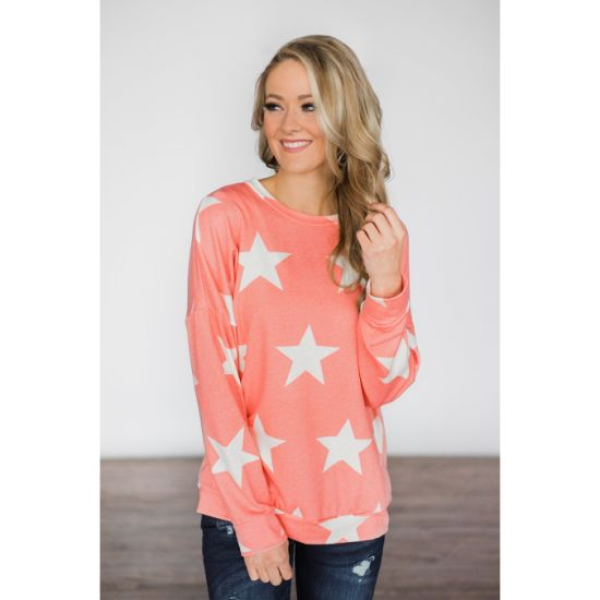Women Long Sleeve Star Printed Knitted Loose T-Shirt