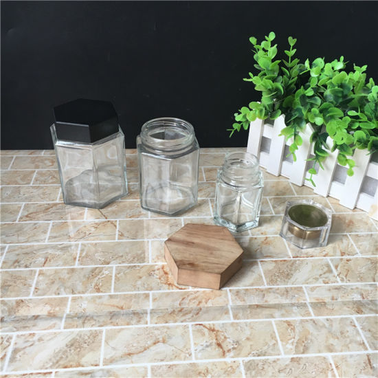 280ml Hexagonal Glass Honey Wooden Lid Jars pictures & photos
