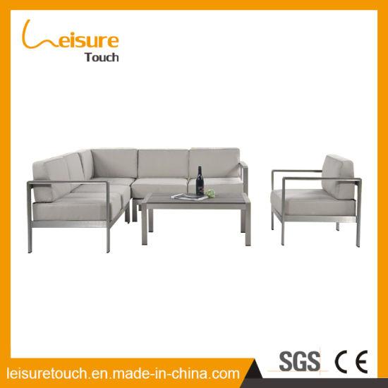 Small Family Sitting Room Resort Outdoor Garden Furniture Aluminum Cloth Art Corner Sofa