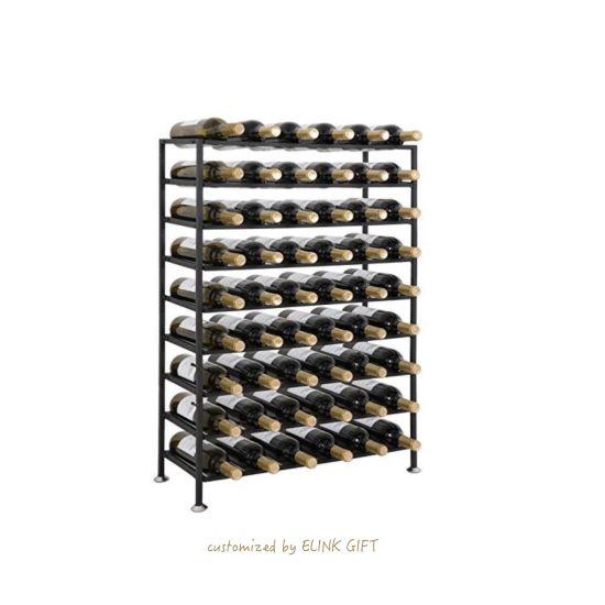 Free Standing Black Steel Wine Bottle Rack Wine Storage Holder Wine Cabinet