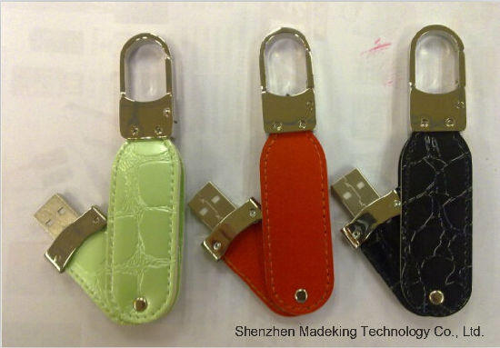 Hot Selling New Design Swivel Leather USB Flash Drives, Real Leather pictures & photos
