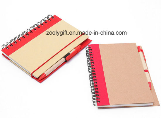 Recycled Kraft Hard Cover Spiral Notebooks with Elastic Band and Pen pictures & photos