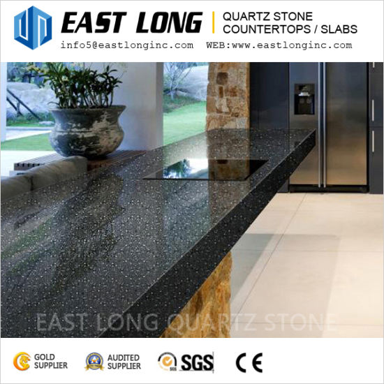 China Black Sparkling Mirror Quartz Stone Surface with Free