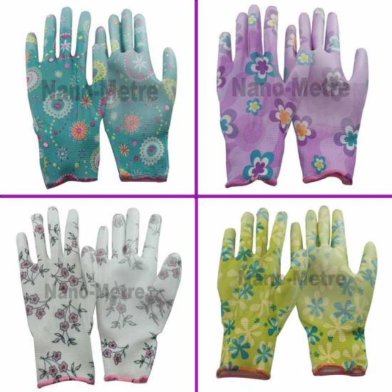 Nmsafety Colorful Liner Coated PU Gardening Work Glove