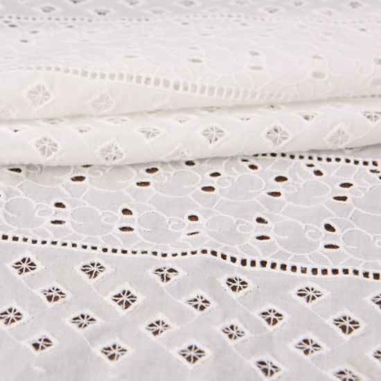White Cotton Cloth Eyelet Embroidered Lace Fabric Manufacturer in China