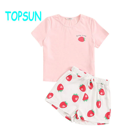 Girls Strawberry Tee Drawstring Waist Shorts Kids Pajamas Kids Pyjamas Children Sets