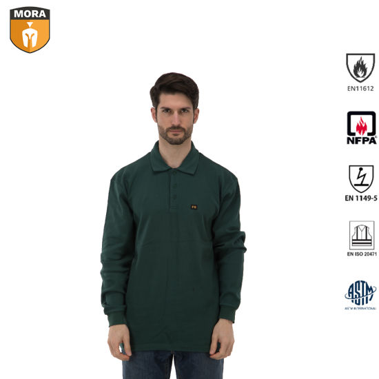 Nfpa 2112 International Standard Fr Clothing Safety T-Shirts Outdoor Workwear Flame Resistant Henley Shirts with Closure Half Open