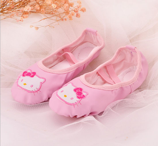 Children's Non-Slip Soft Bottom Shoes Satin Embroidery Sequins Student Ballet Shoes