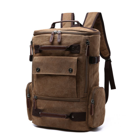 Wholesale Vintage Trendy Large Capacity Hemp Canvas Computer Backpack Outdoor Leisure Bag for Men