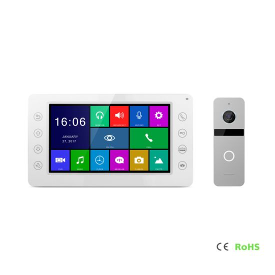 HD 7 Inches Interphone Doorbell Intercom Home Security Video Doorphone with Memory