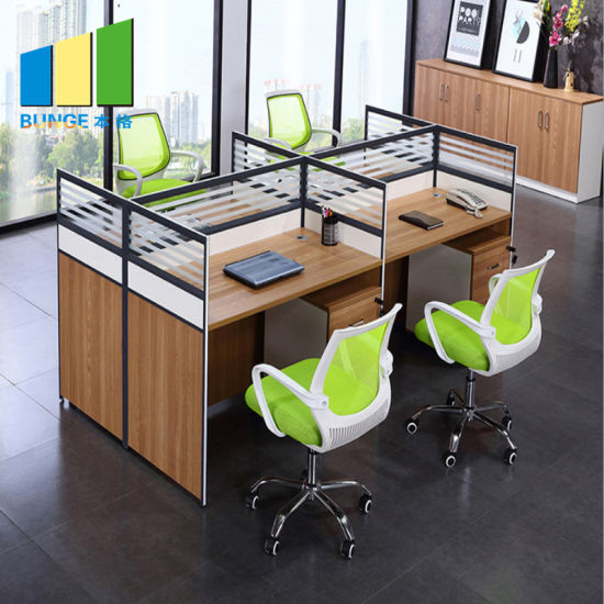Modular Office Glass Cubicle Partitions Wooden Melamine Used ...
