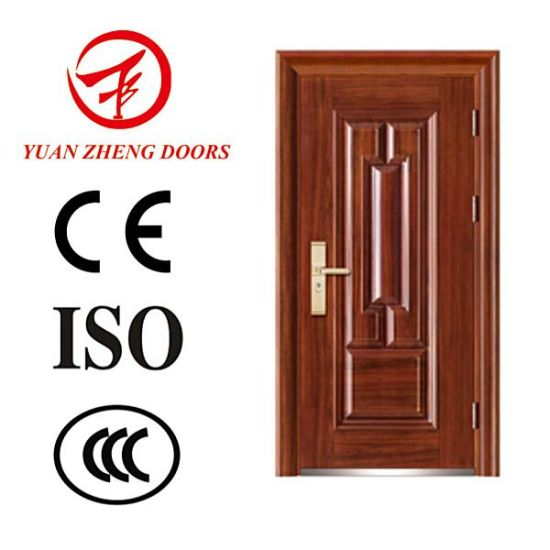 China Wood Color Safety Steel Door with Good Price pictures & photos