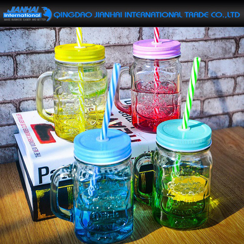 Colourful Glass Bottle Spray Mason Jar with Handle and Metal Lid