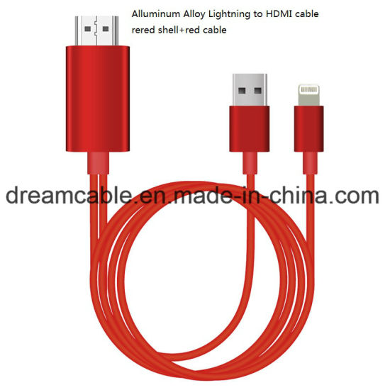 2m Aluminum Alloy Shell Lightning to HDMI Cable pictures & photos