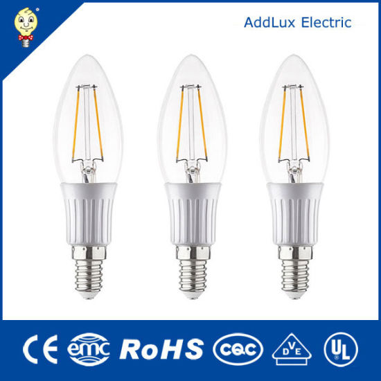 Good Quality & Price Clear Cover 3W E27 Cool White LED Filament Candle Bulb Made in China for Home Lighting From Best Distributor Factory