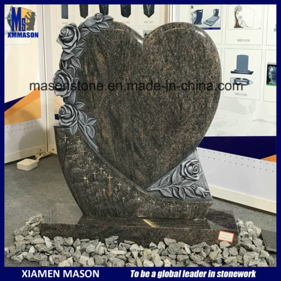 Antique Heart Design Himalaya Blue Granite Tombstone with Rose Sculpture