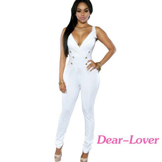 2676ceb2b8b2 China White Sexy Sleeveless Button Sides Bodycon Jumpsuit - China ...