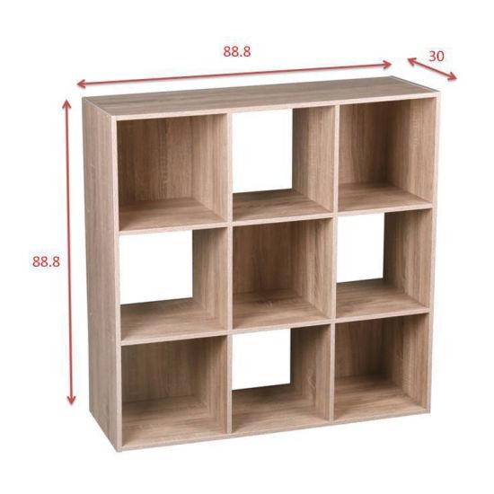 9 Cube Organizer 5 Canvas Bins Oak Bookcase Bookshelf