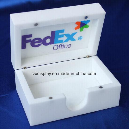Custom White Plexiglass Storage Box With Silk Screen Logo