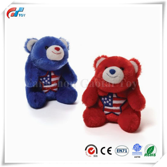 Snuffles Americiana Red and Blue Stuffed Polar Bear Toy